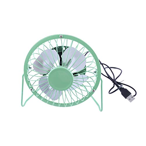 Unionm USB Fan, Mini 4 inch Desktop Cooling Fan Personal Desk Small Mobile Portable Fan for Computer Laptop Home Outdoor Indoor Travel Only USB Powered Quiet Low Power Consumption (Green)