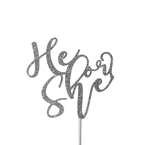 Price comparison product image Topline Society Handmade Gender Reveal Sparkles Cake Topper / Celebrate Baby Boy or Girl with Modern Glitter Calligraphy / Colored Party Decoration / Available in Gold or Silver