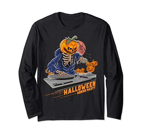 Homemade Dj Halloween Costume (Jack o Lantern DJ Pumpkin Halloween Horror Party Costume Tee Long Sleeve)
