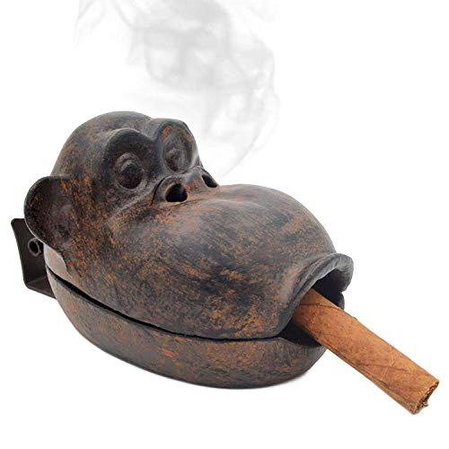Yimi Cigar Ashtray Outdoor for Patio, Home Office Countertop Decor Ash Holder Large Ash Tray, Cast Iron Funny Monkey with Wooden Gift Box, Best Gift for Smoker from Yimi