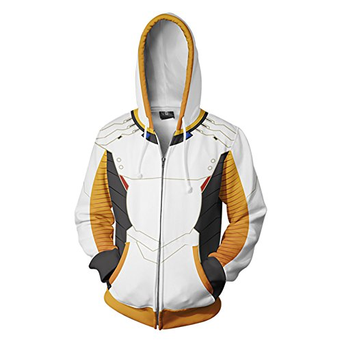 (Soldier 76 Blue Hoodie Angel Cosplay Costume 3D Printed Jacket (Large, Color)