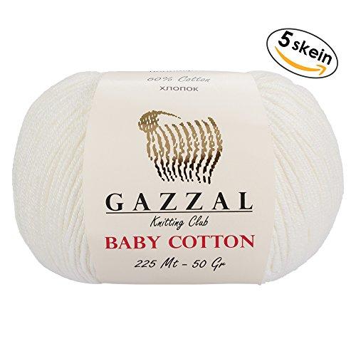 Gazzal Baby Cotton 1.76 Oz (50g) / 150 Yrds (165m) Soft, Fine Baby Yarn, 60% Cotton(White - (50g Yarn)