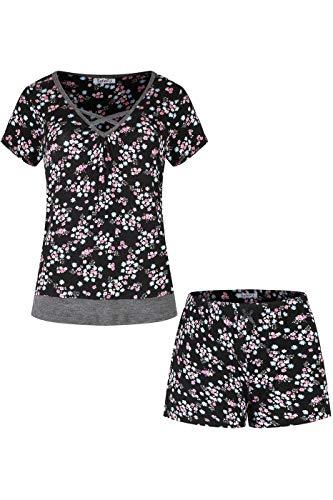 (SofiePJ Women's Rayon Spandex Printed Scoop Neck Sleepwear Pajama Set with Short Pants Black Pink Floral XL(567009))