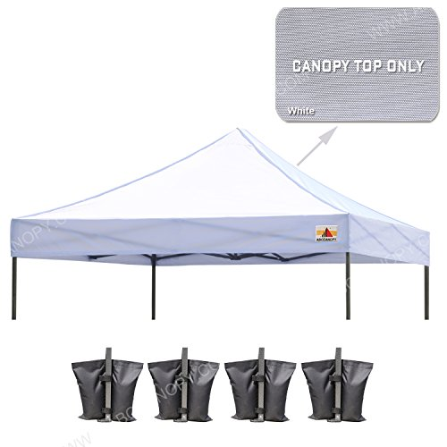 ABCCANOPY 10' X 10'Pop up Canopy Tent Replacement Canopy Top Cover Bonus Weight Bag (white) - Canopy Top