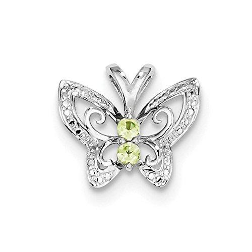 - 925 Sterling Silver Rhodium-plated Peridot & Diamond Butterfly Pendant