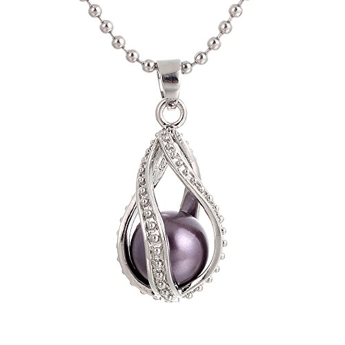 Crystal Queen Silver Pearl Cage Necklace Beads Cage Locket Pendant Necklace Jewelry—Add Oyster Pearls, Stones, Rhinestones Making More Charming, Fun Gifts Essential Oil Diffuser (Twist Water Drop)