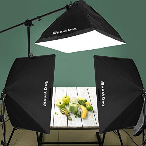 MOUNTDOG 2400W Softbox Photography Lighting Kit 20'x 28' Softbox3 4 Socket Professional Continuous Light Set 12X45W E27 5500K Bulbs for Portrait Photo Video Shooting by MOUNTDOG (Image #5)