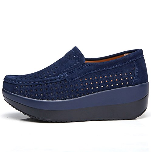 HKR Frauen Loafers Slip-on-Plattform Turnschuhe Komfort Wildleder Mokassins Schuhe fahren 3213-1 Dunkelblau - aushöhlen