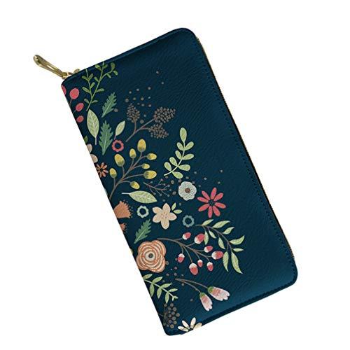 Women Long Wallet Zipper Around Floral Print Designer Clutch Purse Card Holder