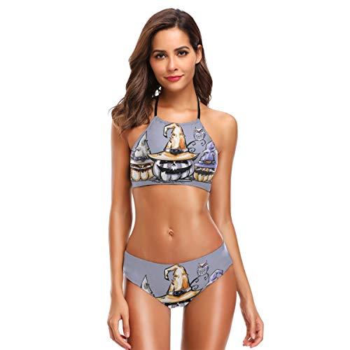 Halloween Pumpkin Swimwear Bikini Beachwear Two Pieces Swimsuit