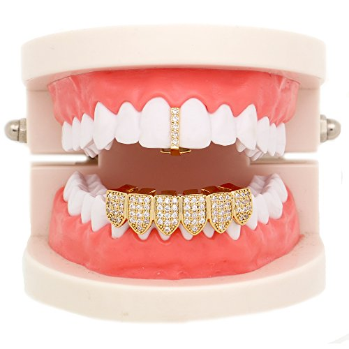 Lureen 14k Gold Iced-out Pave CZ Bar Grillz Teeth Top and 6 Bottom Set + EXTRA Molding Bars (Gold)