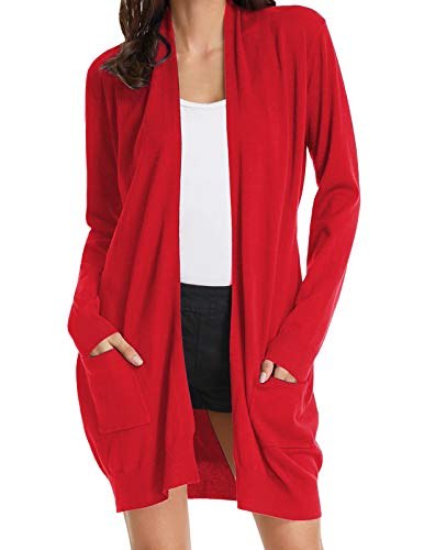 Women's Long Sleeve Open Front Popcorn Sweater Cardigan with Pockets Red S