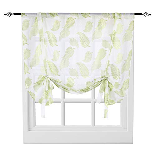 KEQIAOSUOCAI Tie Up Shades Rod Pocket Leaves Jacquard Balloon Shades for Windows, 1 Panel Sheer Drapes, Green, 52 by 63 Inches Long ()