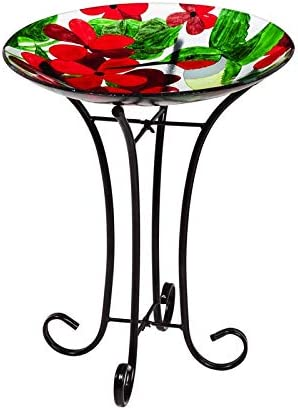 Evergreen Garden Hummingbird 16 inch Glass Bird Bath Bowl with Metal Stand