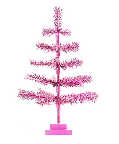 Christmas Ornaments Feather (24'' Pink Christmas Tinsel Tree Retro Style Pink Feather Tinsel Tree 2FT Christmas Display Table-Top Tree Decorative Valentine's Day Easter Decor Centerpiece Xmass Tree)