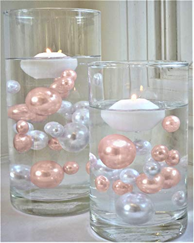 No Hole Blush Light Pink/Rose Gold & White Pearls - Jumbo/Assorted Sizes Vase Decorations - to Float The Pearls Order The Floating Packs from The Options Below