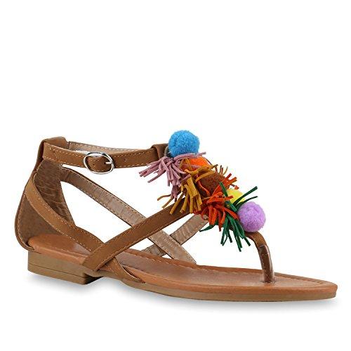 Stiefelparadies Damen Zehentrenner Ethno Ketten Sandalen Pom Poms Sommerschuhe Flats Quasten Zierperlen Schuhe Flandell Hellbraun Riemchen