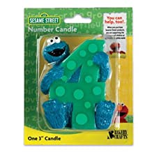 4th Birthday Sesame Street Cookie Monster Cake Candle [Toy]