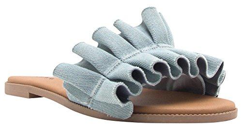 Cambridge Selezionare Donna Open Toe Volant Senza Schienale Sandalo Slip-on Azzurro