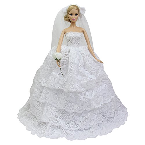 ZITA ELEMENT Handmade Multi-Layer White Wedding Party Dress for 11.5 inch Girl Doll Clothes Gift | 1 Princess Gown with 1 Veil & 1 Artificial Flower