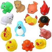 ODDEVEN Baby Chu Chu Colorful Animal Shape Swimming 12 Pcs Sounding Squeeze Bath Toy