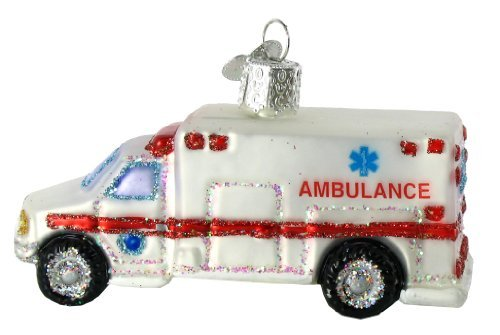Old World Christmas Ornaments: Ambulance Glass Blown Ornaments for Christmas Tree