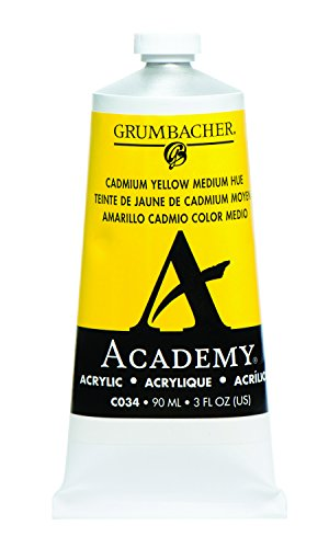 Grumbacher Academy Acrylic Paint, 90ml/3 oz Metal Tube, Cadmium Yellow Medium Hue (C034) Acrylic Colors Cadmium Red Light