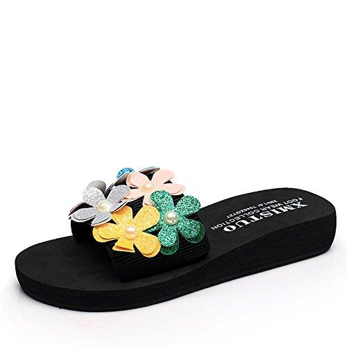 Chanclas MEIDUO sandalias Nuevos Zapatos Hechos A Mano Los Deslizadores De Las Flores Usan Los Deslizadores De La Manera Zapatillas Frescas Ocasionales Para 18-40 Años cómodo 3cm-Color