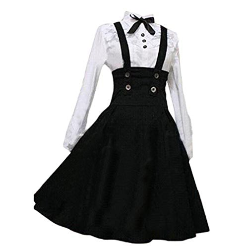 Comic Con Costumes (Partiss Women Long Sleeves With Bowknot Classic Lolita Fancy Dress, L, White Blouse Black Skirt)