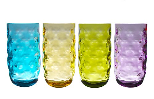 QG 23 oz Clear Colorful Acrylic Plastic Iced Tea Cup Drinking Glasses Tumbler Set of 4