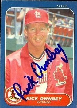 Rick Ownbey Autographed Baseball Card St Louis Cardinals 1986