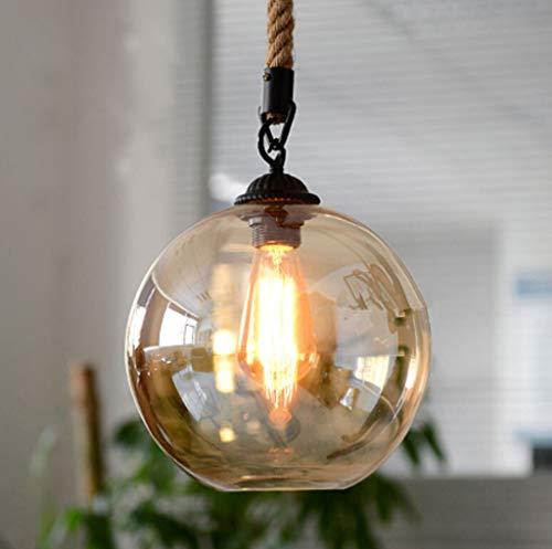 (Loft Vintage Retro Industrial Transparent Glass Ball Hemp Rope Single Head Pendant Lights E27 Ac 110v 220v Lamp for Dining Room Living Room Cafe Bar )