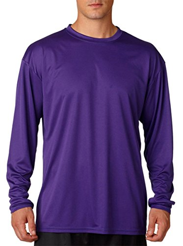 A4 Men's Cooling Performance Crew Long Sleeve T-Shirt, Purple, Large