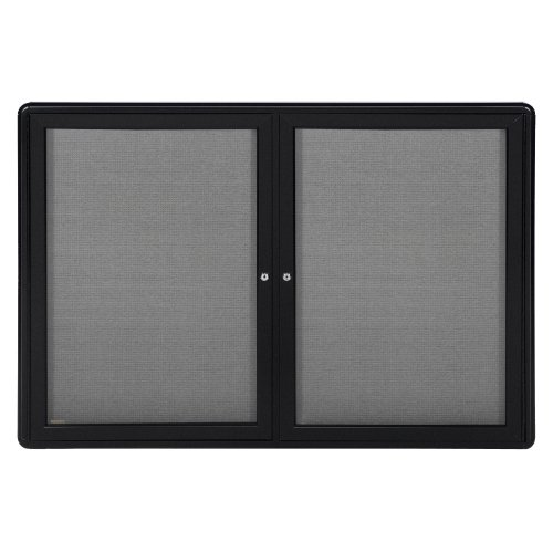 Ghent 34''x47'' 2-Door Ovation Gray Fabric Bulletin Board, Black Frame, Made in the USA by Ghent