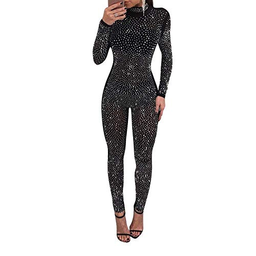 513f46258ae Rela Bota Women s Sexy Long Sleeve Turtleneck Bodycon Sequin See Through  Mesh Jumpsuits Long Romper Pants Clubwear