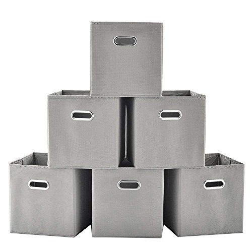 Ikebana Durable Set Of 6 Metal Handle Collapsible Fabric Storge Cubes, Grey Closet Organizers Fabric Drawers, Convenient For Clothes Storage Or Kids Toy Organize by Ikebana