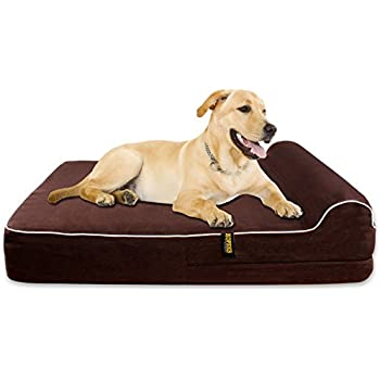 """Extra Large 7"""" Thick Orthopedic Memory Foam Dog Bed With 3'' Pillow - Includes Waterproof Inner Protector - Dark Chocolate Color XL"""