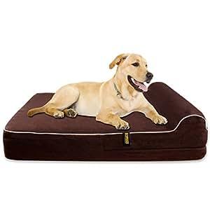 KOPEKS Orthopedic Memory Foam Dog Bed With Pillow and Waterproof Liner & Anti-Slip Bottom - JUMBO XL Size - Brown