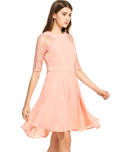 Angvns Casual Manches 3/4 Mince Dentelle Longueur Genou Rose Robe Solide Femmes