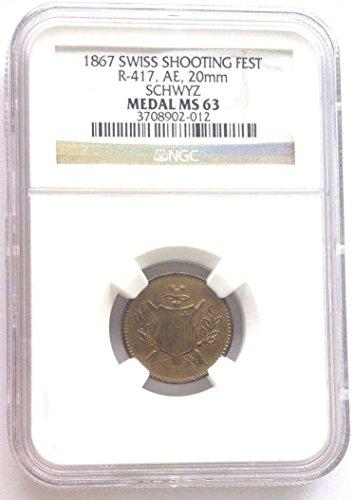 1867 CH Swiss 1867 Brass Shooting Token Schwyz Richter-41 coin Good