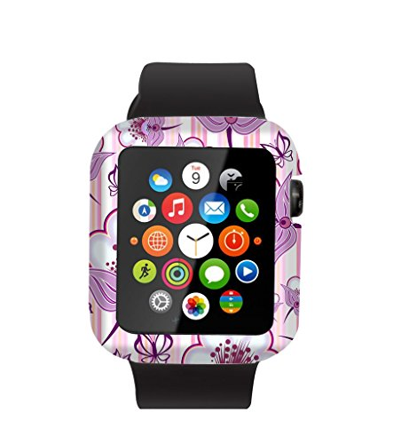 Case Replacement for Iwatch 38mm & Cisland Flexible Protective Protector Cover Compatible for Apple Watch 38mm Series 1/2/3 Sport & Edition Pink Big Flowers Floral Designer Print