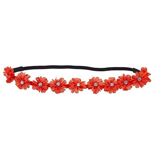 Lux Accessories Orange Chiffon Rhinestone Flower Crown Floral Headband Headwrap