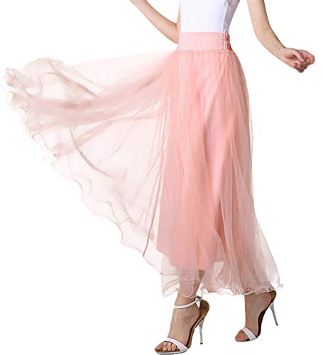 Women A line mesh Tulle Skirt Knee Length Elastic Waist for Evening Party Prom Formal Skirts (Peach, Small,US 4-12)