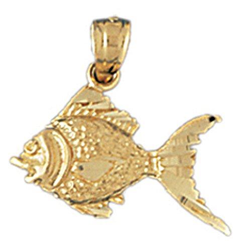 14K Yellow Gold Goldfish Pendant Necklace - 18 mm 14k Yellow Goldfish Pendant