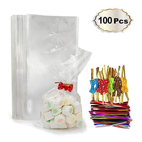 100 Clear Treat Bags with 100 Pcs Twist Ties 20 Bowknot 5 Colors,Clear Cellophone Bags Party Favor Bags for Cake Pop Popcorn Marshmallow Buffet Chocolate Cookie Wedding Supply (5'' x 10'')