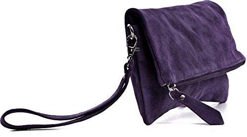 CNTMP - bolso para señora, clutches, clutch, bolsos de mano, bolsos, bolsos de fiesta, bolsos de tendencia, gamuza, ante, bolso de cuero (pequeño/púrpura), 21x12x2,5cm (l x an x a)