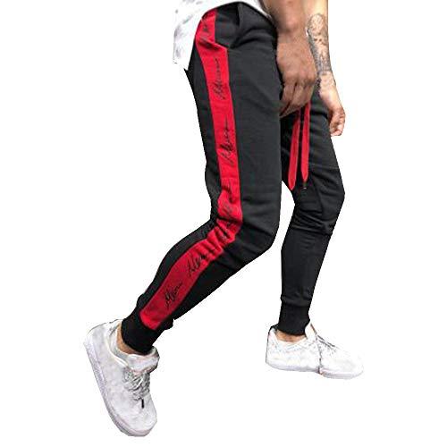(LISTHA Mens Sport Pants Joggers Casual Drawstring Sweatpants Letter Trousers Black)