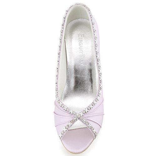 Elegantpark EP2094 Women's Peep Toe Pleated Rhinestones High Heel Satin Evening Prom Shoes Lavender mEELMbUb