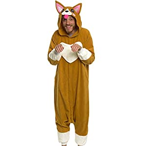 Silver Lilly Unisex Adult Pajamas - Plush One Piece Cosplay Corgi Animal Costume