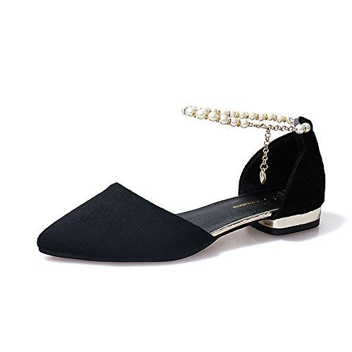 Comfort PU cadere il Scarpe ZHZNVX grigio Gray molla per nero sandali punta Casual vino basso tacco EUInq